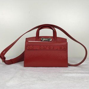 MCM Woman Mini Tote Bag Ruby Red Logo Print DM1